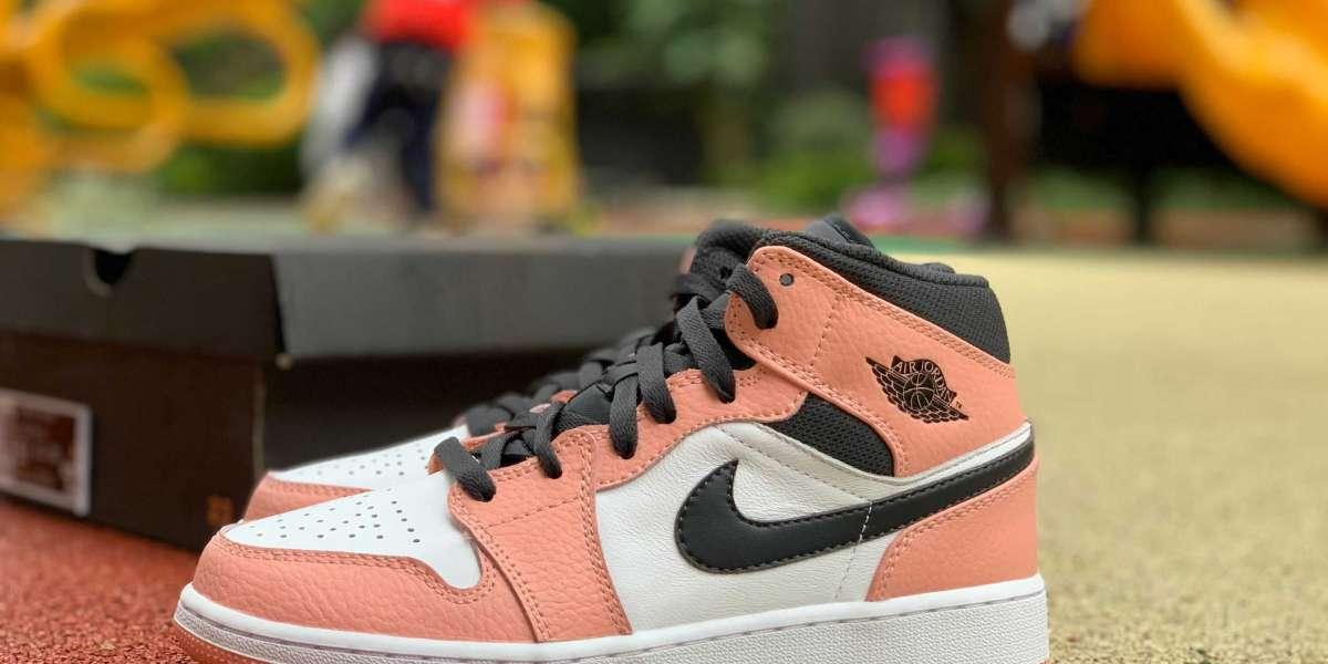 "Hot Sale Air Jordan 1 Mid ""Pink Quartz"" Girls Size 555112-603"