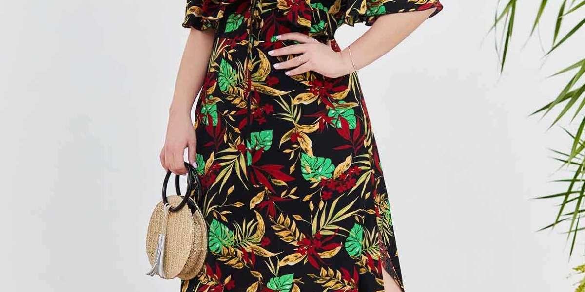 V-Neck Floral Print Self-Tie Wrap Long Sleeve Plus Size Dress