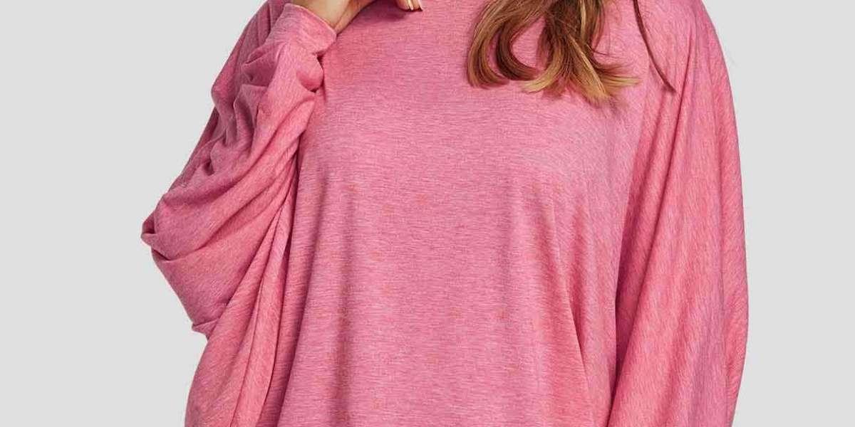 V-Neck Plain Hooded Long Sleeve Black Plus Size Tops